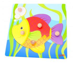 Puzzle poisson 5 pièces en bois