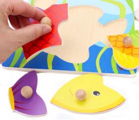 Puzzle en bois poisson - 5 pièces à boutons à encastrer