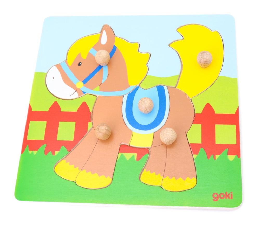 Puzzle Poney 5 pièces en bois avec bouton