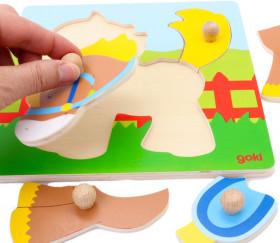 puzzle 5 pièces boutons Poney en bois