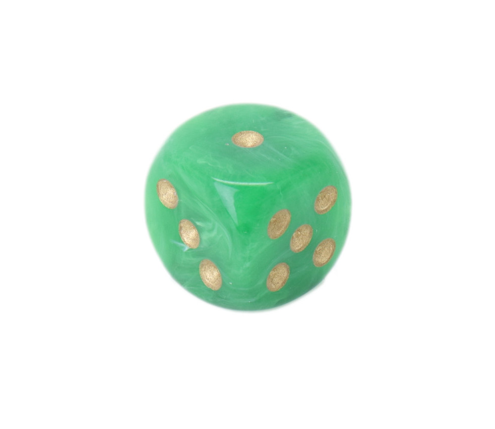 Dé 16 mm vert Vortex points 1 à 6 dorés