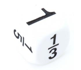 Dé fraction 1 1/2 1/3 1/4 1/5 1/6 en 16 mm