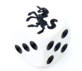 Dé spécial licorne noire 23456 taille 16 mm