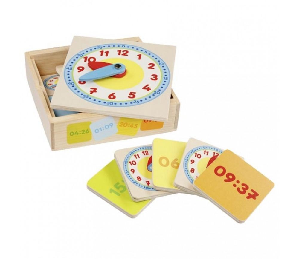 Kit d'apprentissage de l'heure en bois - Horloge et 12 cartes recto-verso