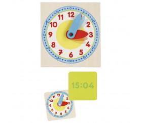 Set d'apprentissage de l'heure - Horloge en bois et 12 cartes recto-verso