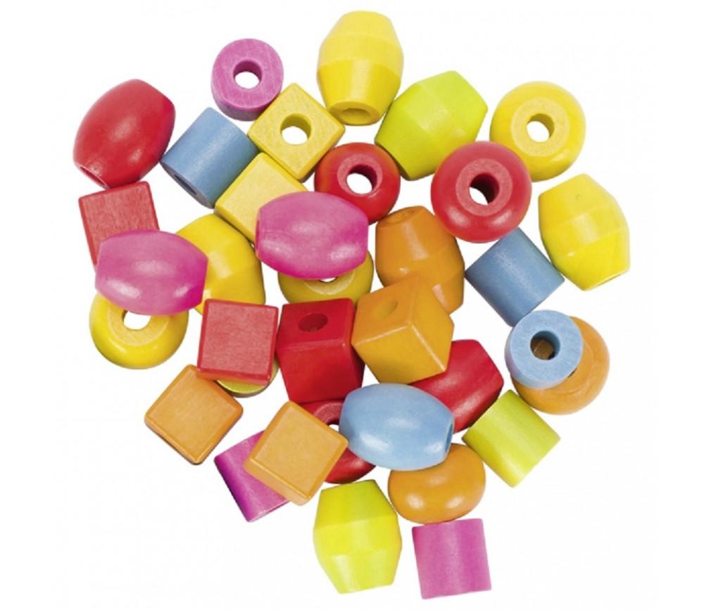 45 grosses perles en bois 5 formes et 6 lacets