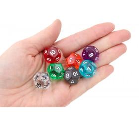 Dé à jouer 12 faces translucides dodécaèdre (couleur mise au hasard)