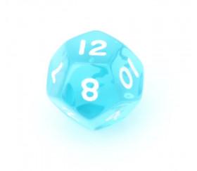 Dé à jouer translucide bleu turquoise chiffres blancs de 1 à 12