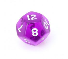 Dé à jouer translucide violet chiffres blancs de 1 à 12