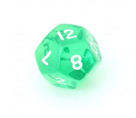 Dé à jouer translucide vert chiffres blancs de 1 à 12