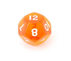 Dé à jouer translucide orange chiffres blancs de 1 à 12