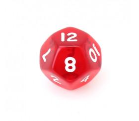 Dé à jouer translucide rouge chiffres blancs de 1 à 12