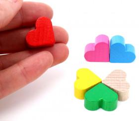 Mini Coeur rouge en bois pion de 2 x 1.7 cm pour jeux de société