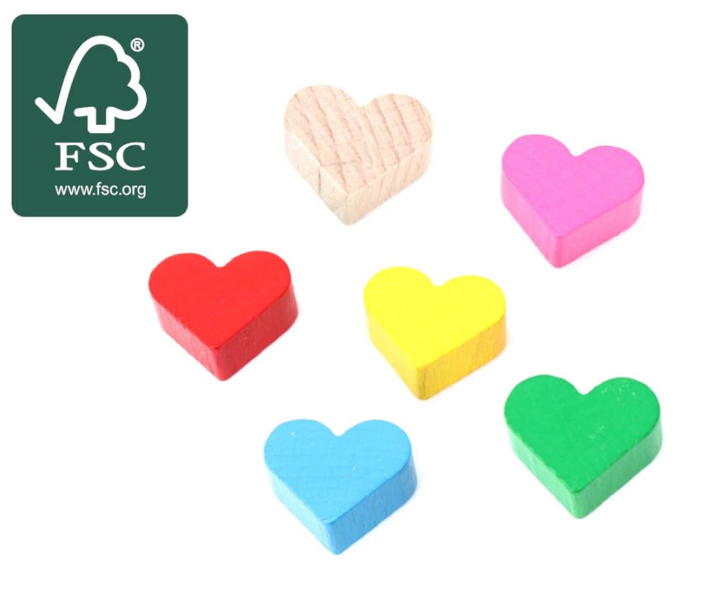 Cœur en bois certifié FSC pion de 2 x 1.7 cm à l'unité