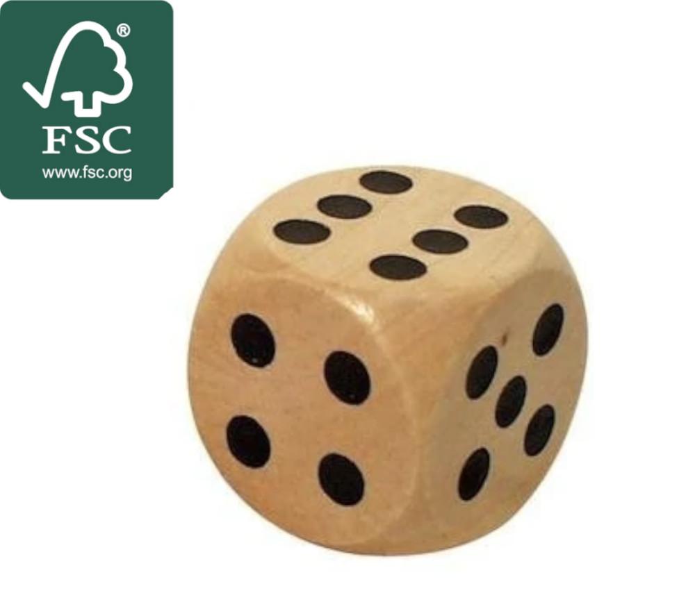 Dé en bois certifié FSC 20 mm de 1 à 6 pour jeu de société