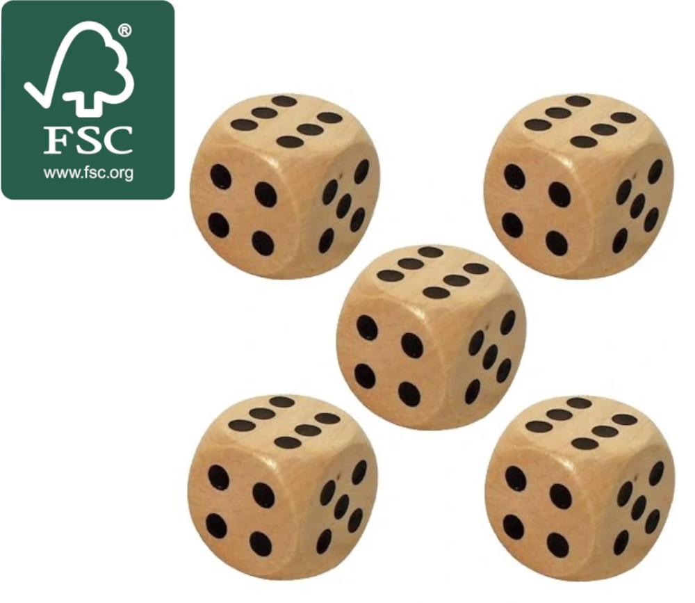 5 Dés en bois certifié FSC 3 cm de 1 à 6 pour jeu de société yam géant