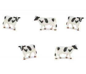 Figurine mini vache noire et blanche