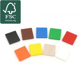 Carré plat 20x20x4 mm en bois certifié FSC pour jeux 2 cm de côté