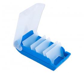 Boite à trier bleue pour cartes 20 x 9 x 6.5 cm plastique avec intercalaires amovibles