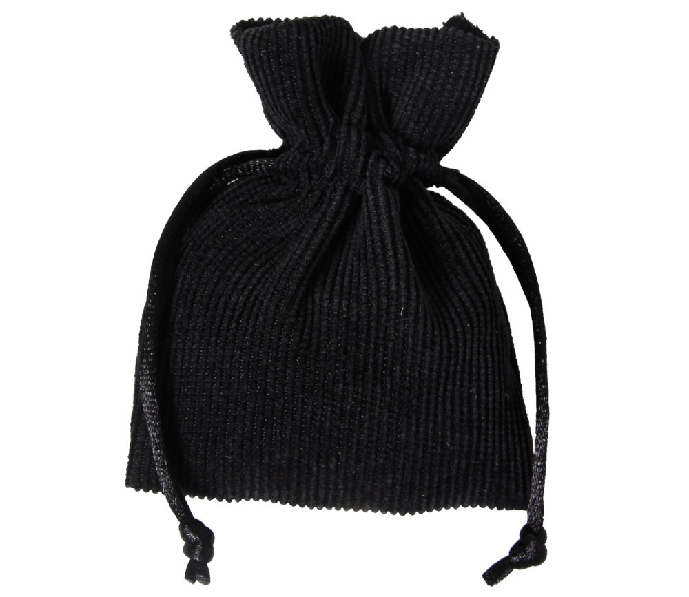 Sac noir en velours épais avec cordon de serrage - 10 x 12.5 cm