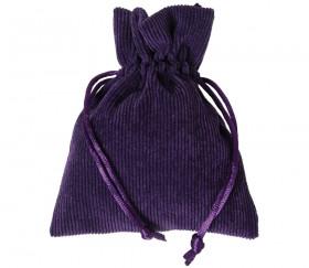 Sac violet en velours épais avec cordon - 10 x 12.5 cm