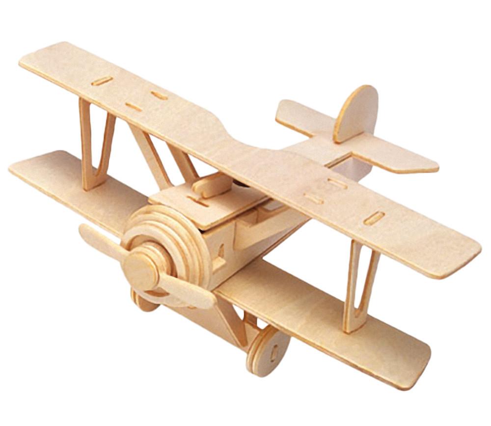 Maquette en bois avion biplan à fabriquer assembler - 23 x 18.5 cm