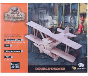 avion en bois biplan à monter et à peindre