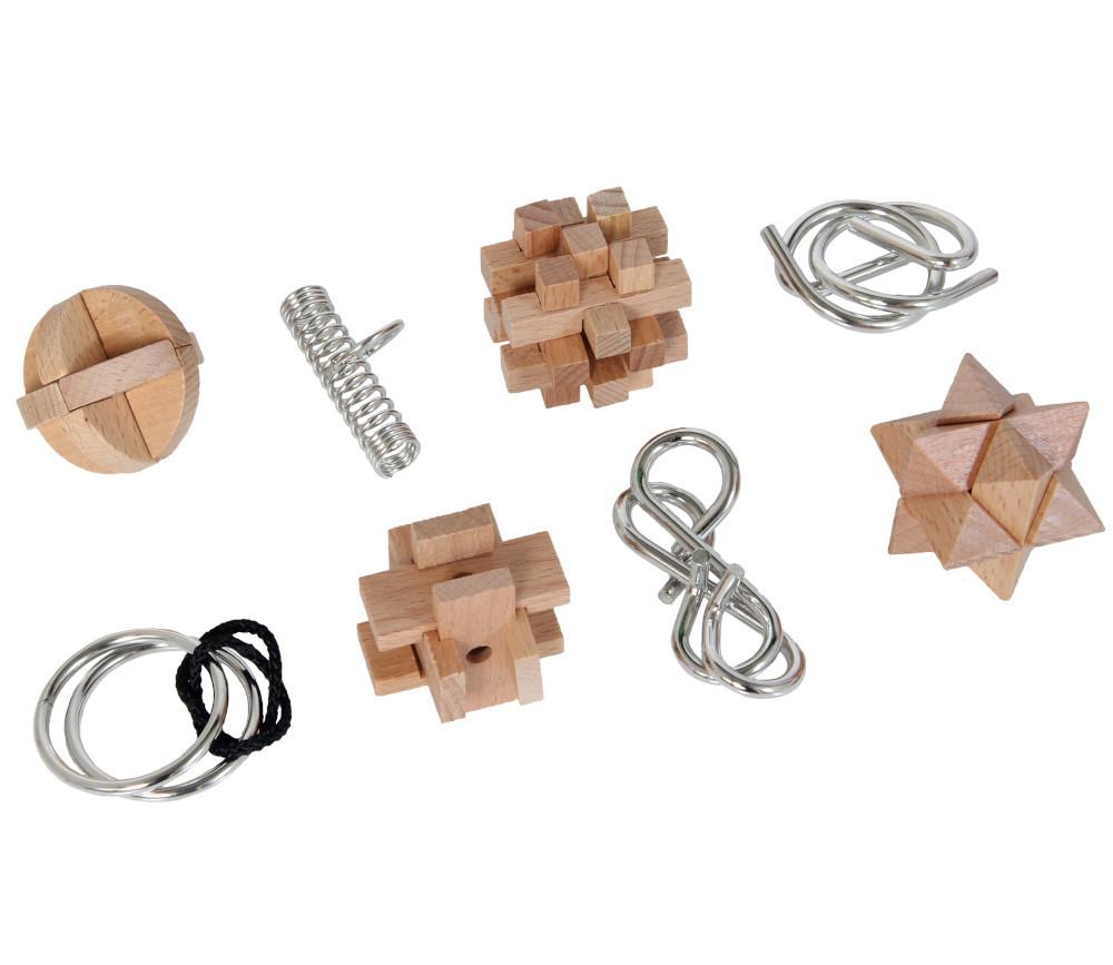 Coffret 8 casse tête bois et métal - 3 niveaux de difficultés