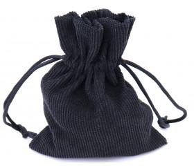 Petit Sac noir velours épais. Pochon avec cordon de serrage - 10 x 12.5 cm