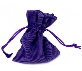 Petit sac violet en velours épais avec cordon - 10 x 12.5 cm