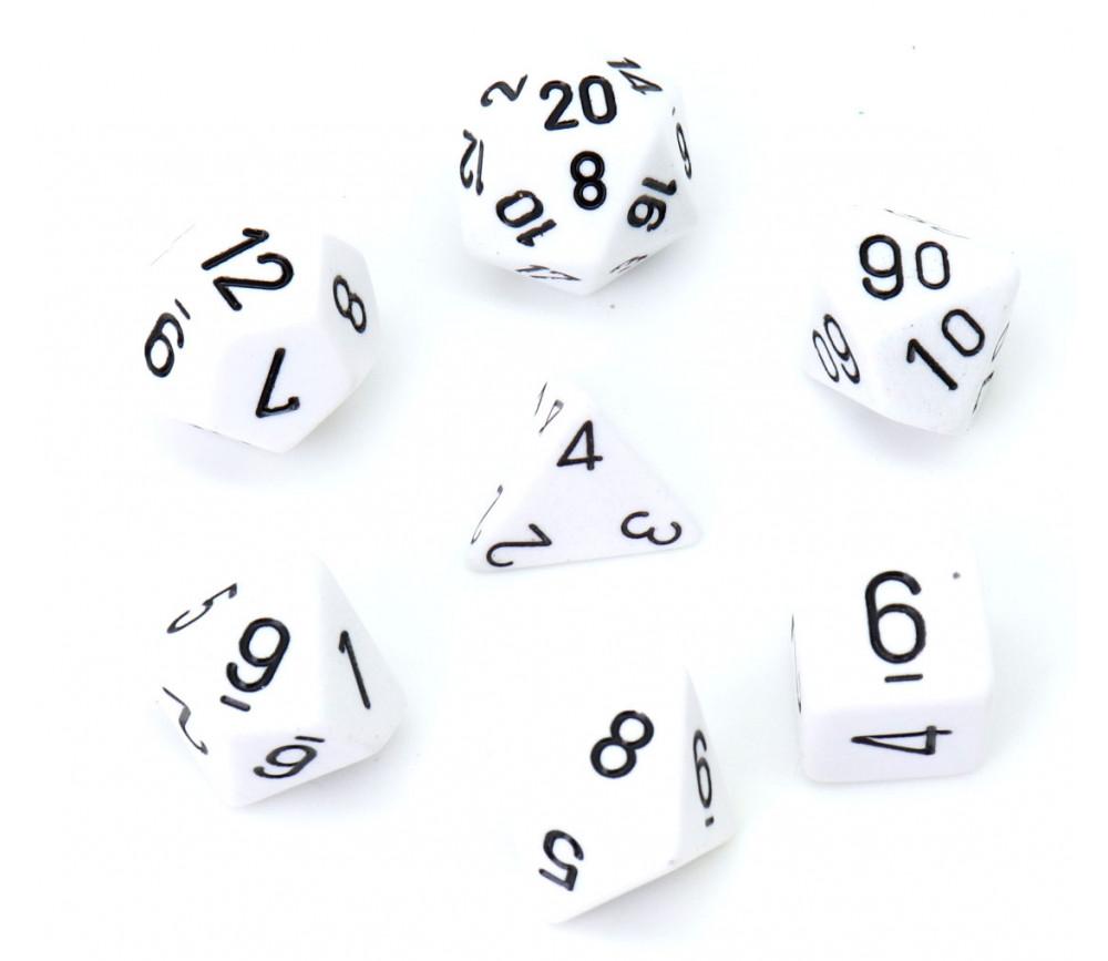 Lot de 7 dés multi-faces opaques blancs pour jeux de société.