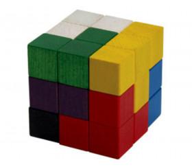 Cube SOMA 7 cm composé de cubes 2.3 x 2.3 cm en bois