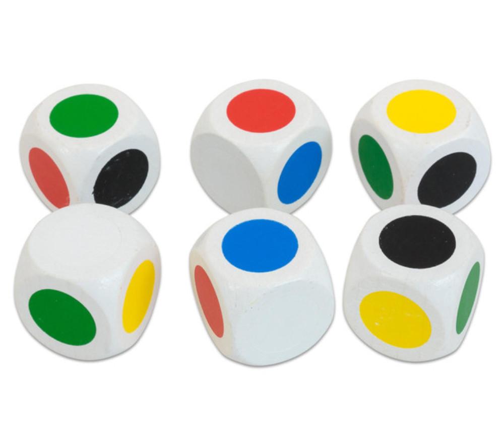 Grand Dé 30 mm 6 points couleurs R V B J Noir Blanc 3 cm