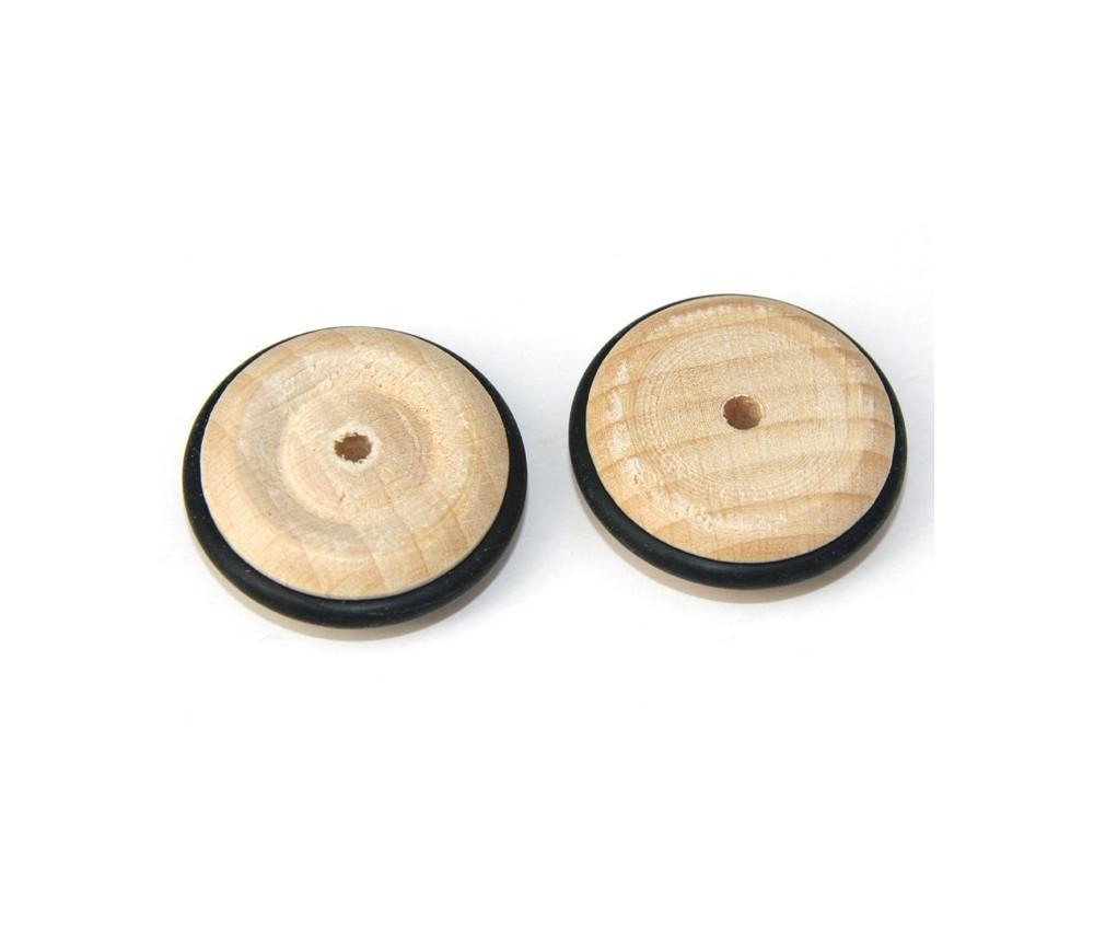 Roue en bois de 3.3 cm avec pneu caoutchouc noir