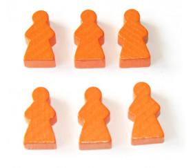 Pion personnage fille meeple en bois orange