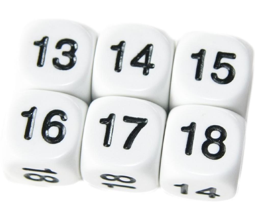 Dé à jouer chiffres 13 à 18 de 16 mm de côté blanc
