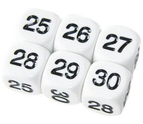 Dé à jouer chiffres 25 à 30