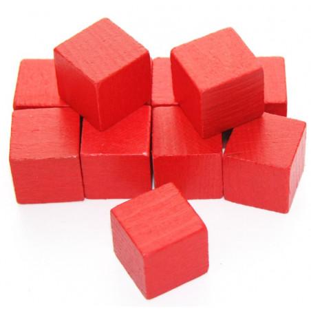 12 Cubes rouges en bois 2.5 cm. 25 x 25 x 25 mm