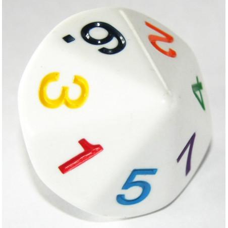 Dé 14 faces géant de 1 à 7 chiffres colorés