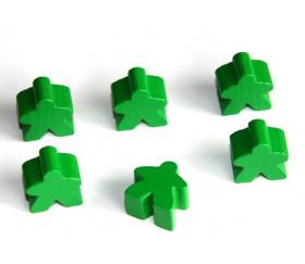 Pion meeple original personnage vert en bois type carcassone