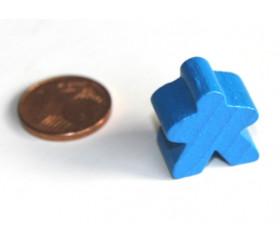Pion meeple original personnage bleu en bois type carcassone