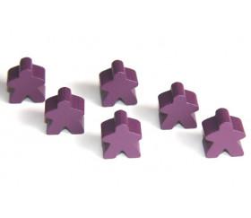 Pion meeple original personnage violet en bois type carcassone