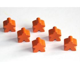 Pion meeple original personnage orange en bois type carcassone