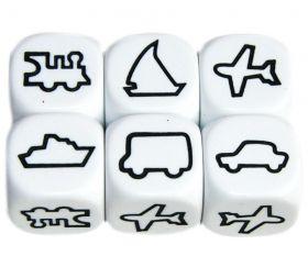 Dé Transport : train, bateau à voile, bateau moteur, avion, camion, voiture