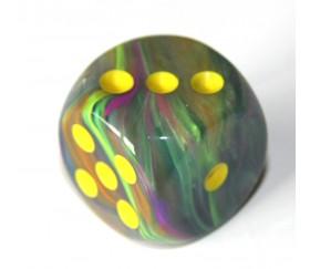 Dé vortex multicolore 16 mm points jaunes