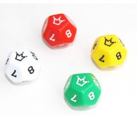 Dé à jouer 12 faces 0-10 couronne