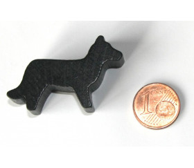 Pion Loup noir en bois pour jeu