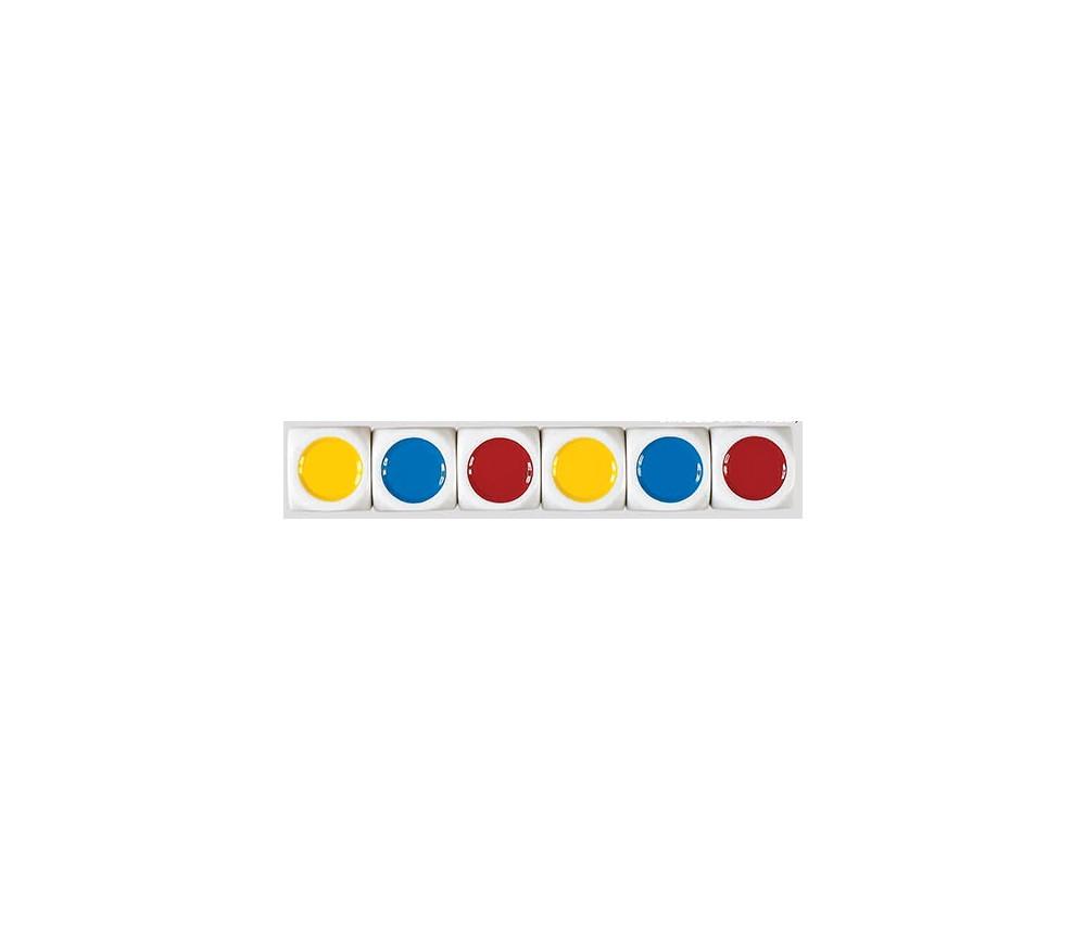 Dé plastique 6 points couleurs 20 mm : rouge jaune vert bleu noir violet