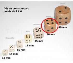 Dé en bois 30 mm de 1 à 6 pour jeu de société
