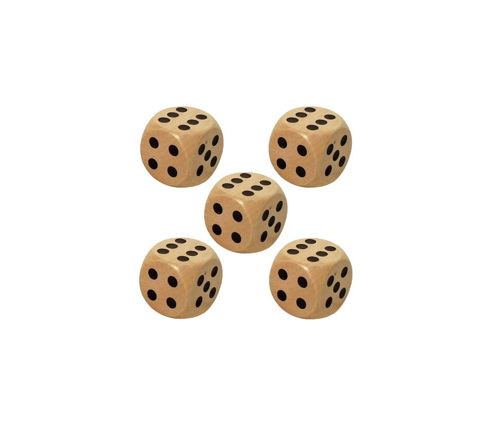 5 Dés en bois 3 cm de 1 à 6 pour jeu de société yam géant